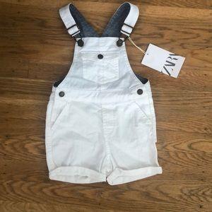 Zara Baby White Overall - 6-9 months